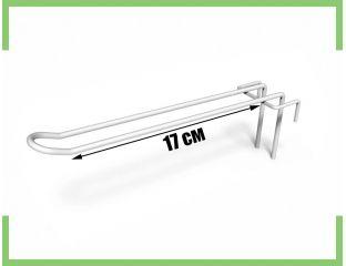 Торговый Крючок двойной на сетку 17 см (белый,металлик)