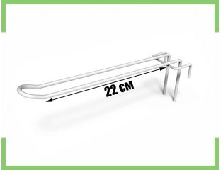 Торговый Крючок двойной на сетку 22 см (белый,металлик)