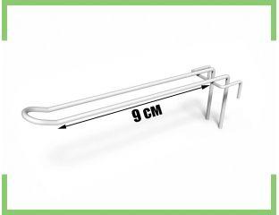Торговый Крючок двойной на сетку 9 см (белый,металлик)